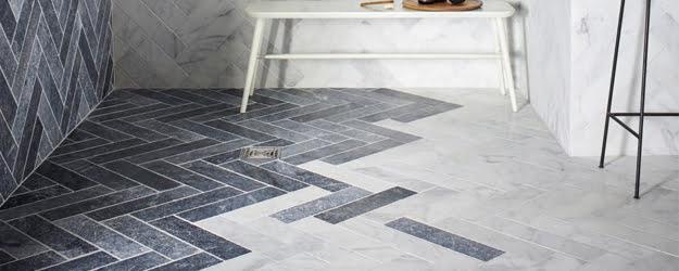 Marble Floor - Calacatta Tumbled Marble - Bathroom Marble Tiles - KleanSTONE Floor Cleaning